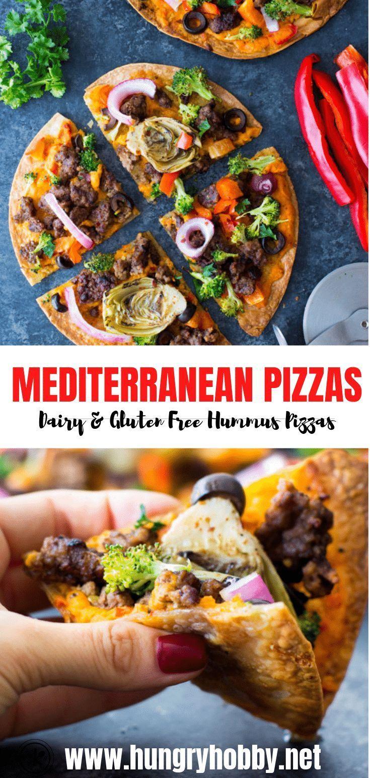 Mediterranean Hummus Pizzas Barbara Groundbr In 2020 Ground Beef Recipes Dairy Free Pizza Recipe Dinner With Ground Beef