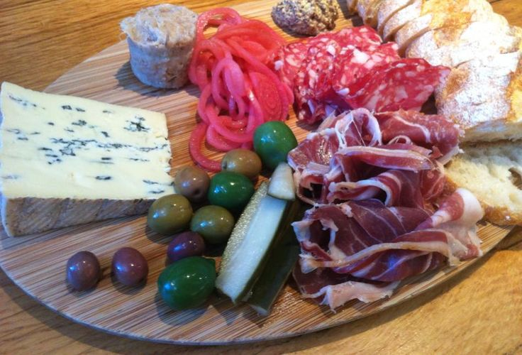 Charcuterie board from Oxbow Cheese & Wine Merchant for lunch or an afternoon snack, anyone? Customize your cheese as these guests did (creamy Bavarian Cambozola was their pick)!