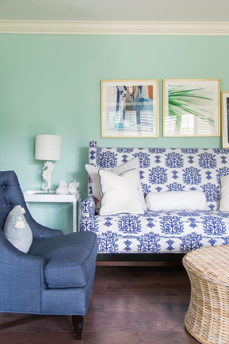 Dana Gibson for Stroheim fabric in Jaipur covering a Lee Industries sofa - aqua paint colors - aqua and navy designs - One Room Challenge, week 3 - the color scheme is bright, happy blues inspired by Mark Sikes and include a gorgeous striated velvet paired with a fun check pattern. Check out the awesome trims, and more before shots at www.pencilshavingsstudio.com