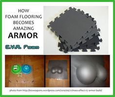 Most armor costumes you see (ex: Iron Man, Mass Effect, etc) are made of EVA Foam, cut and glued together, dremmeled for weathering, and painted. It's flexible, strong, formable, and cheap. EVA is commonly used in interlocking foam floor tiles from hardware stores, automotive centers, and even discount stores like Big Lots or used in yoga mats. It doesn't matter what color, you're going to paint it anyway! Mad props to BioWeapons for creating the happiest set of armored boobs I've ever seen!