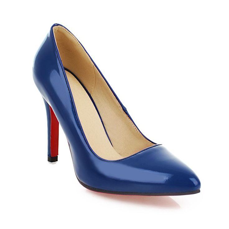 Новое горячие сексуальные черные розовый бежевый синий высокие каблуки женщины ню глянцевые туфли на высоком каблуке дамы формальная обувь A145 лакированной кожи мода