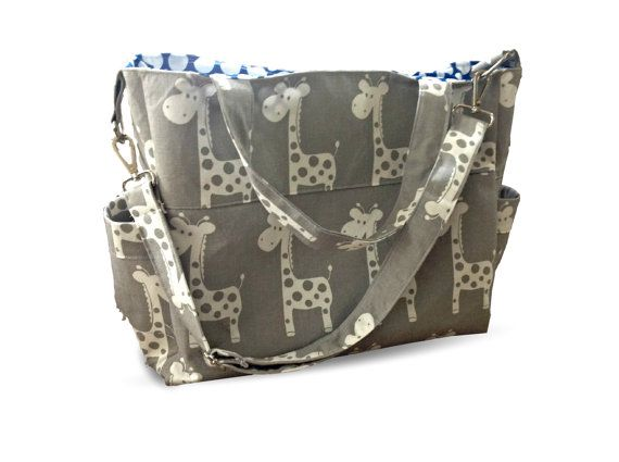 Large Grey Giraffe Nappy Bag with addional Shoulder Strap by Pumpkin Pie Creations Handmade in Australia