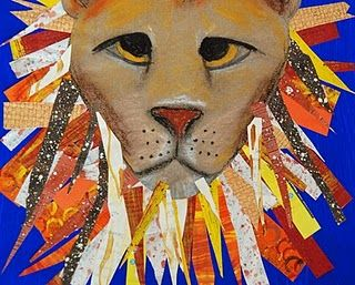 lion drawing and colllage: Lamb Art, Marching Lion, Art Lessons, Artists Woman, Art Adventure, Art Class, Art Ideas, Lion Art, Art Projects