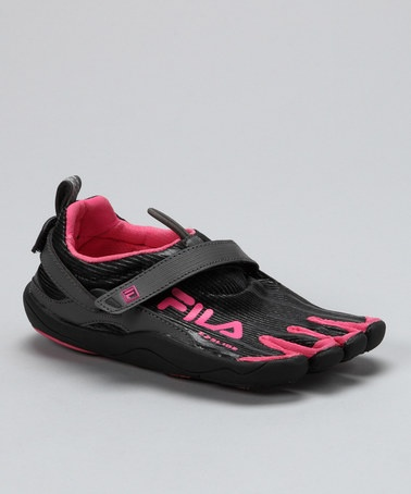 Take a look at this Black & Hot Pink Skele-Toes Running Shoe - Kids by Fila Footwear on #zulily today!