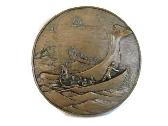 vintage bronze plaque Whaling Scene nautical decor