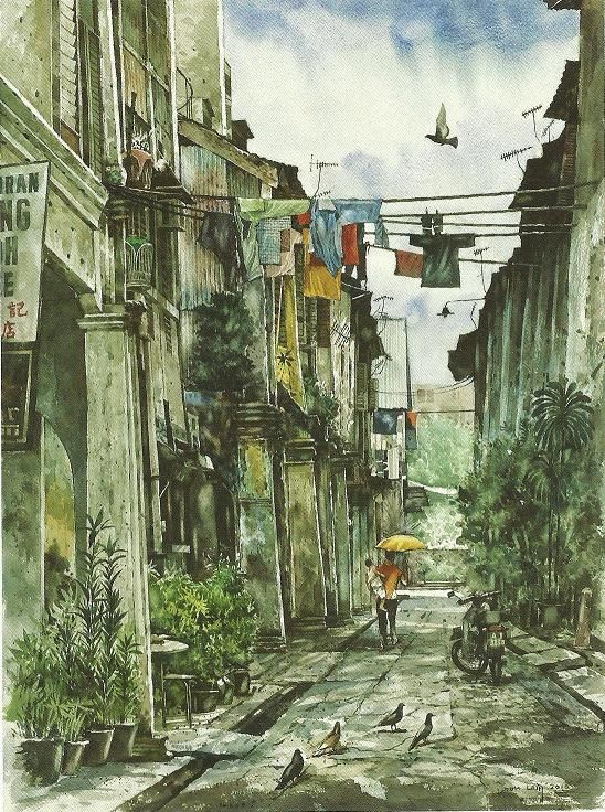 Concubine Lane Ipoh, Watercolour on  Paper, Yong Look Lam