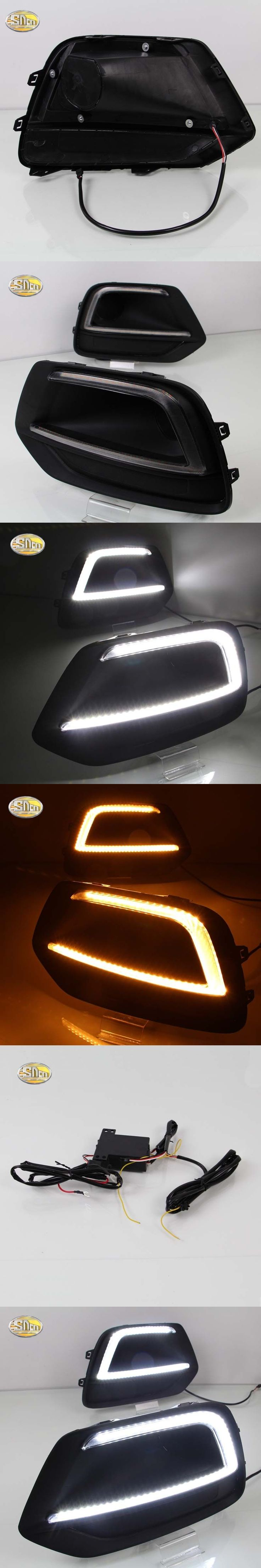 SNCN Led Daytime Running Lights for Chevrolet Trax 2016 2017 fog lamp cover 12V ABS DRL with yellow turn signal lights