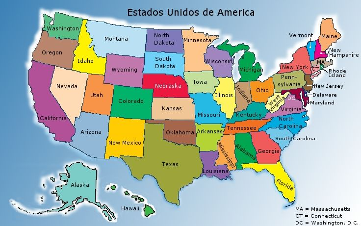 estados unidos mapa los estados | MAPA MUNDI DOS ESTADOS UNIDOS DA AMÉRICA - TODOS OS ESTADOS | coisas ...