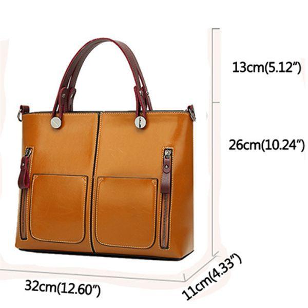 Hot-sale designer Women Oil Wax Leather Tote Bag Retro Shoulder Bags Handbags Online - NewChic