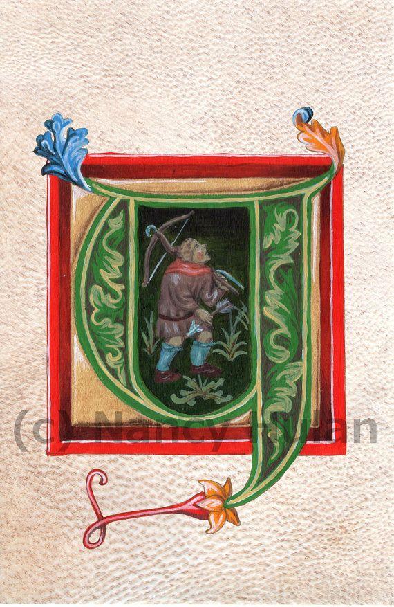 Alfabet Y, middeleeuwse verlichte brief Y, geschilderd eerste Y, middeleeuwse alfabet, Renaissance alfabet Fine Art Print