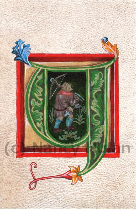Medieval Illuminated Letter Y    This is an archival 4 x 6 print of my original artwork, painted in acrylics on goatskin parchment. It shows a