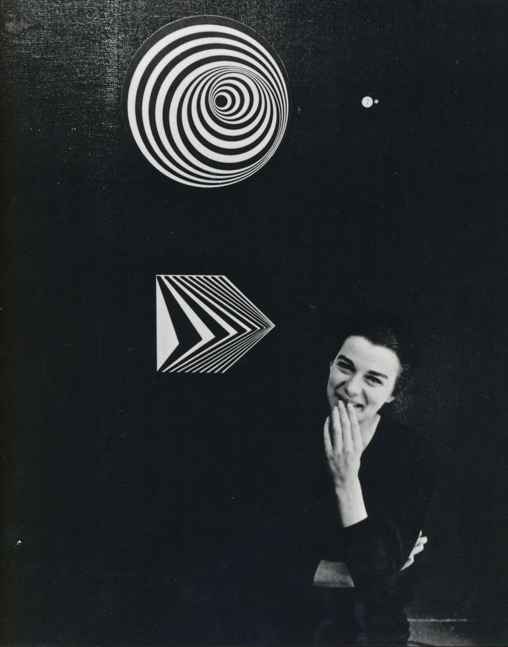 """Bridget Riley at Gallery One in London with """"Uneasy Centre"""" (above) and """"Off"""" (below), (1962)"""