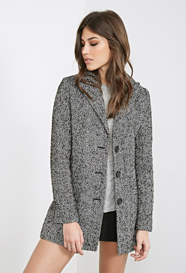 $39, Grey Herringbone Coat: Forever 21 Wool Blend Herringbone Coat. Sold by Forever 21. Click for more info: http://lookastic.com/women/shop_items/141782/redirect