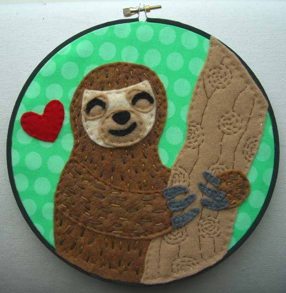 Happy Sloth Embroidery Hoop 7 inches by iggystarpup on Etsy, $30.00