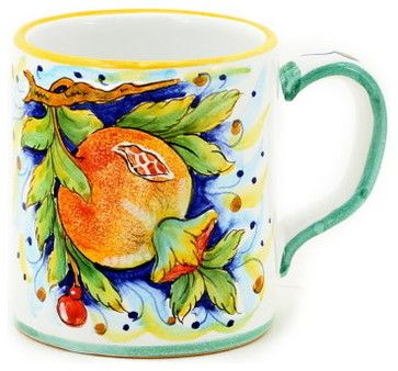 DERUTA FRUTTA: Large Mug Pomegranate Design - 16 oz. mediterranean-mugs