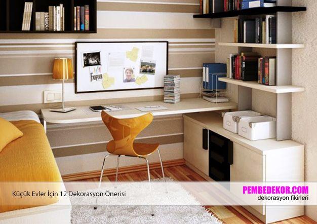 Genç odaları hem yatak odası hem de çalışma odası olarak kullanılır. Bu nedenle bu odalarda açık duvar rafları kullanmak hem kullanışlı hem de hoş bir sitili oluşturur. Açık raflard