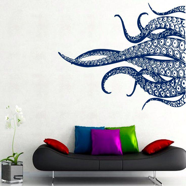 Poulpe mur Stickers tentacules autocollants salle de bain décor mer océan animaux Accueil vinyle autocollant autocollant Kids pépinière bébé chambre décoration murale kk760 par DecalMyHappyShop sur Etsy https://www.etsy.com/fr/listing/214350080/poulpe-mur-stickers-tentacules