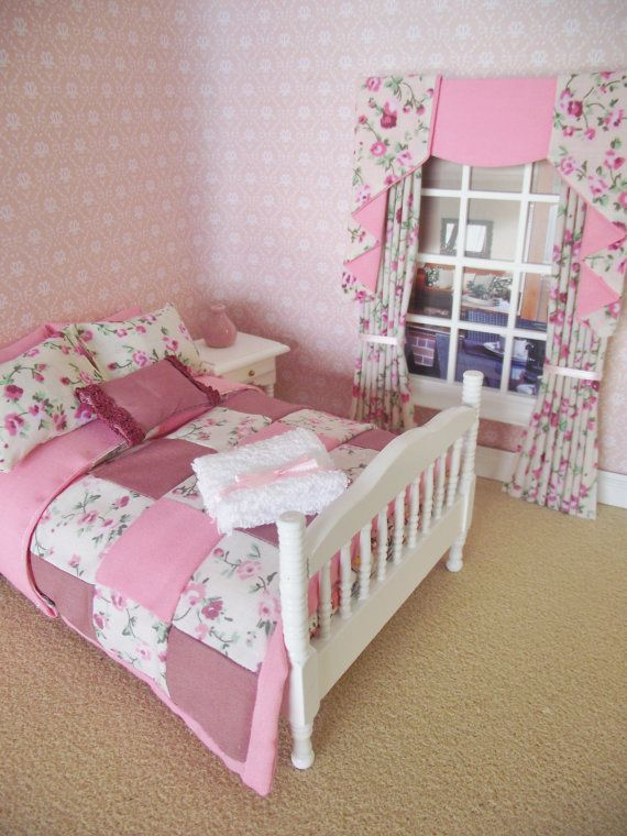 Handmade 12th scale furniture white doll house bed with
