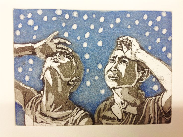 Looking at the stars, etching, aquatint by Laura Casas Valle