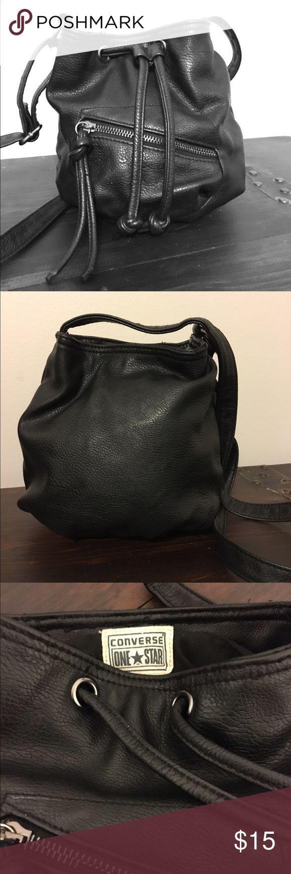 "Converse One Star black crossbody bucket bag Converse One Star black crossbody bucket bag. 9""wide x 7.5"" tall. Converse Bags Mini Bags"