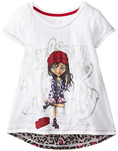 Jessica Simpson Big Girls' Tabitha Tee with Contrast Back, Bright White/Multi Leopard Skater Park Girl, Small. Graphic tee. Short sleeve with roller skate girl graphic. Printed woven back.