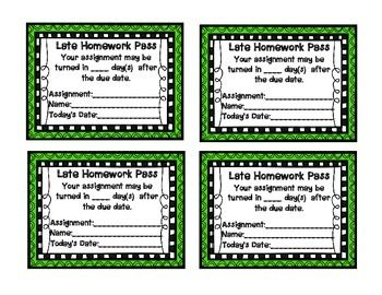 Homework Pass and Late Homework Pass. Each pass has a line for the student's name, assignment and date.