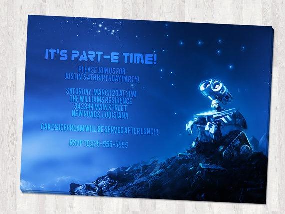 Wall E Birthday Invitation
