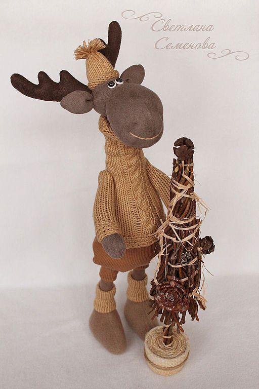 Купить Лосенок... А моя елка готова! - лось игрушка, лоси, интерьерная игрушка, лесной