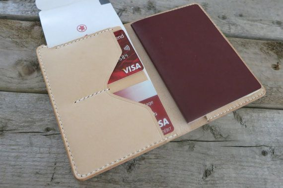 Veg-Tanned Nature Color Leather Passport Case, Passport Cover, Boarding Pass Holder
