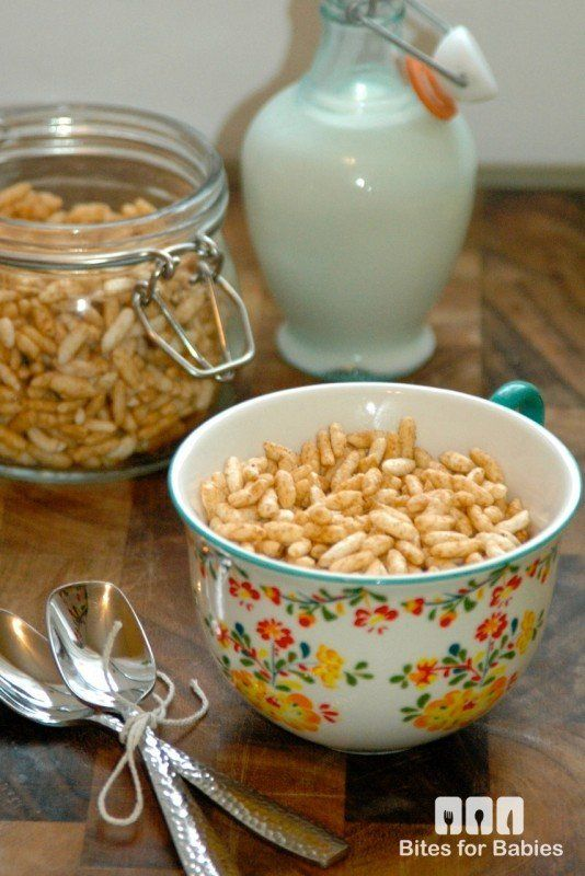 Delicious, wholesome homemade puffed rice cereal! Make-ahead and store for 2 weeks worth of breakfasts or as a finger food snack for baby!