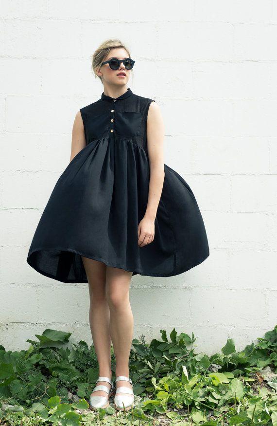 NOUVELLE robe noire  robe chemise Loose  vacances par noemiah