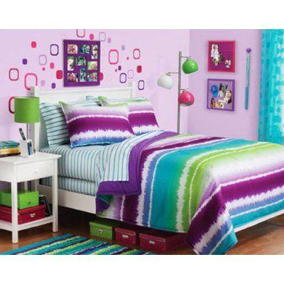 Alyssa S Bedding Amazon Com Purple Blue Green Tie Dye Teen Girls Full