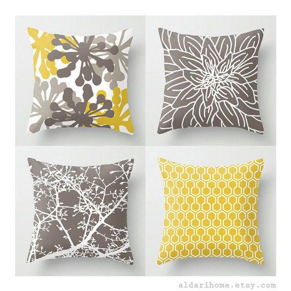 Modern Mustard Yellow And Brown Pillows Set Of 4 Pillow