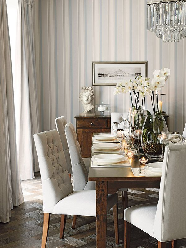 Eaton stripe dove grey and seaspray wallpaper rrp for Grey dining room wallpaper