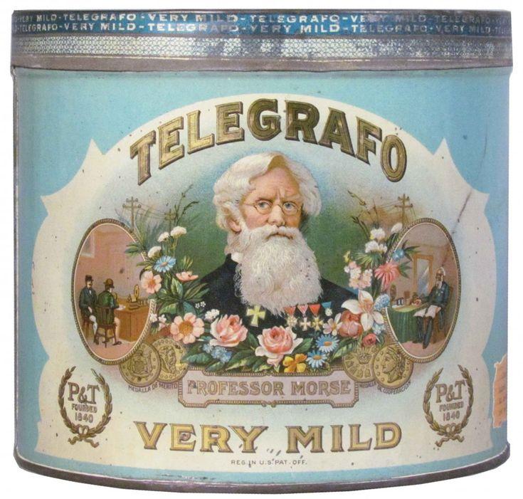 1059: Rare Telegrafo Very Mild Cigar Tin for 50 Cigars