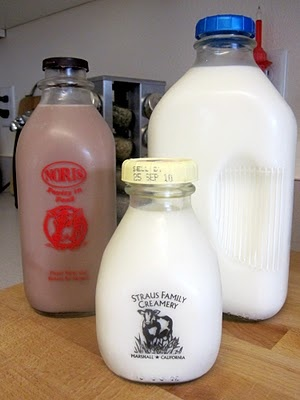 "Milk in glass bottles that was delivered to your house and placed on the front porch. The Milkman would leave the ""bill"" on your porch weekly. The customer would put cash in an envelope, place under the returnable bottles, and leave on the porch for the Milkman. Can you imagine doing that in this day and age...lol"