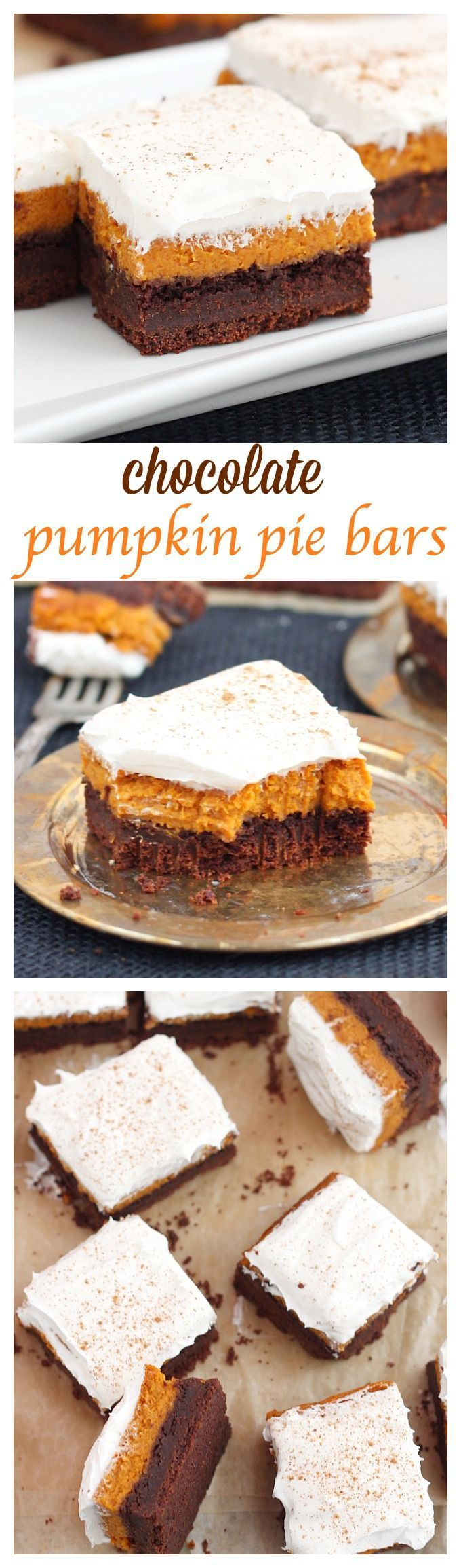 Perfect for fall potlucks, these chocolate pumpkin bars feature layers or rich chocolate cake, silky pumpkin pie and light frosting and finished with a dust of cinnamon