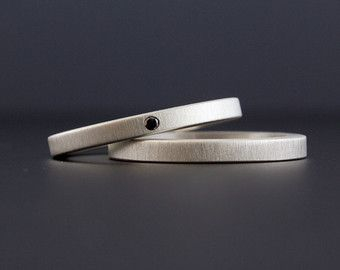 Simple Diamond Rings  Stackable Silver Wedding Ring by CocoandChia