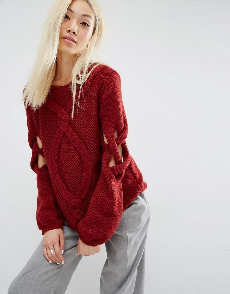 Image 1 of Oneon Hand Knitted Jumper with Cable and Open Lattice Sleeve