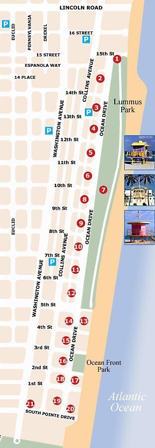 Ocean Drive Miami Beach Map