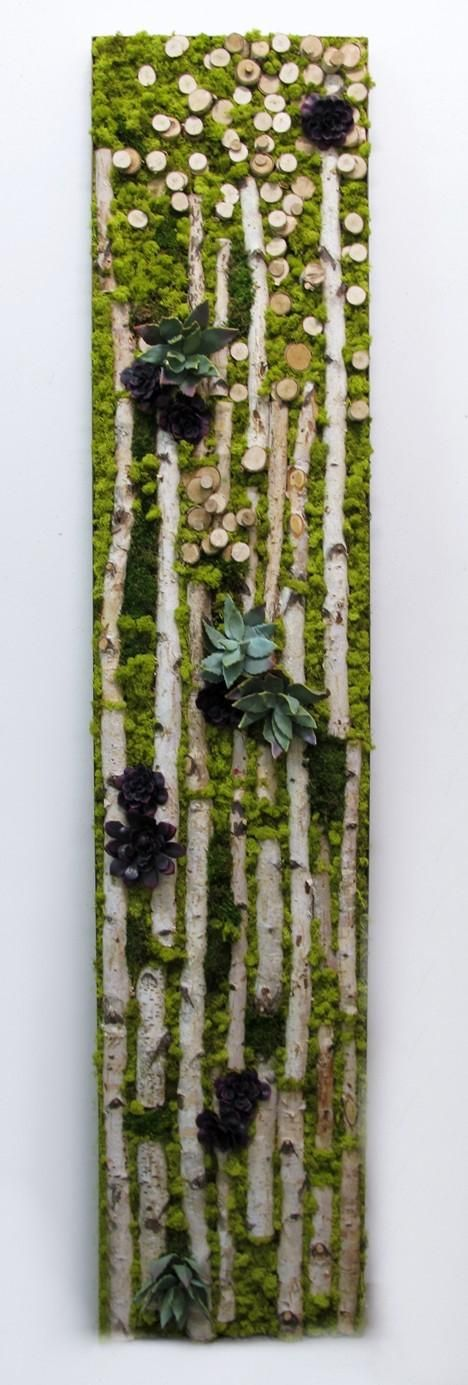 "LW1005  Birch, Mixed Green and Burgandy Succulents with Chartruese Reindeer Moss in Bronze Metal Frame  96""H x 20""W x 4""D  $5725 Retail"