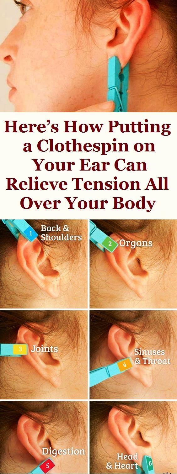 Hier erfahren Sie, wie Sie durch das Aufsetzen einer Wäscheklammer auf Ihr Ohr Spannungen im ganzen Körper lösen können