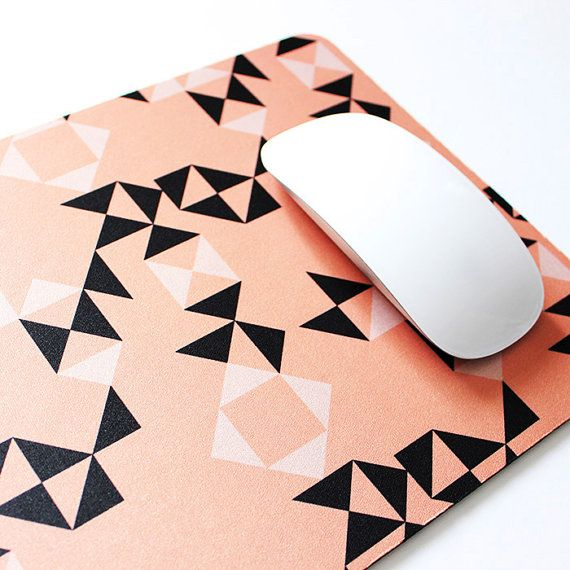 You don't need the excuse of school to love this mousepad! $18 PRE-ORDER: Peach and Black Geometric Soft Fabric Top Mouse Pad with heavy duty natural rubber backing.