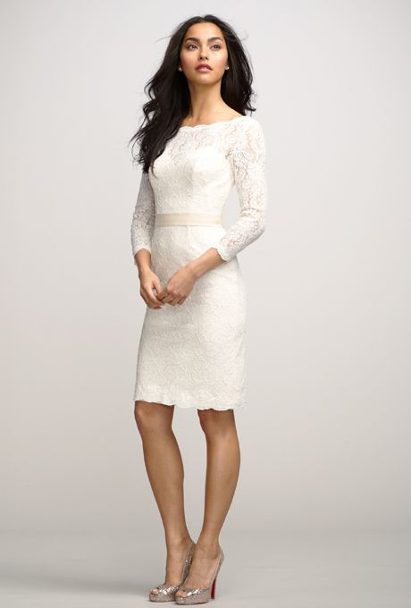 Brides: Encore by Watters :    Style No: 2251e Posey  Chic ivory bateau neck lace dress over almond lining with a deep v-back. Above the knee length slim skirt 3/4 length sleeves, and an oatmeal grosgrain ribbon belt at natural waist.