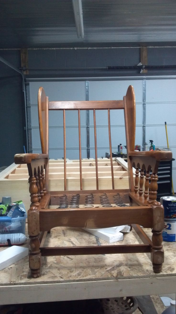 How to build a wingback chair my woodworking plans - Springs On Seat But Dowels On Back
