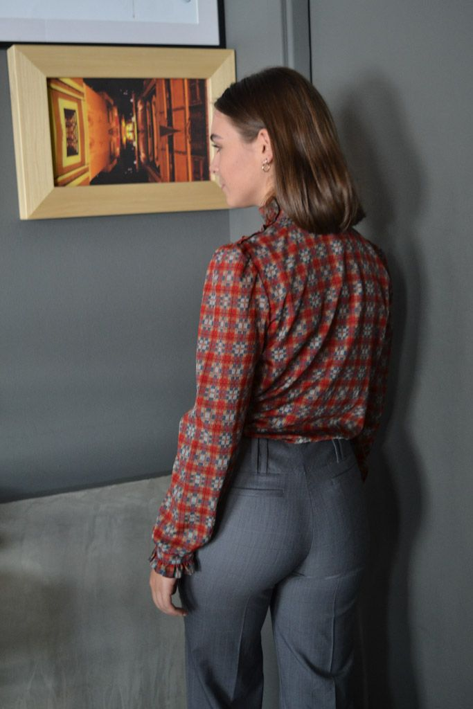 Vintage Red Check Blouse
