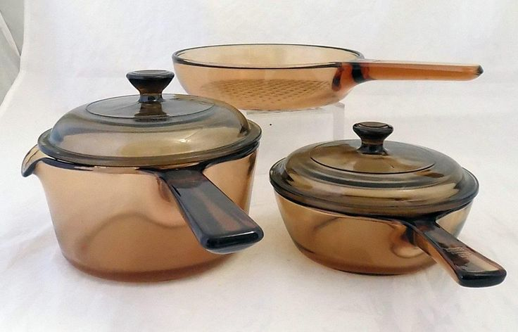 Corning Vision Amber Cook Ware 5pc SET Green Cooking Pots & Pans Apartment Set
