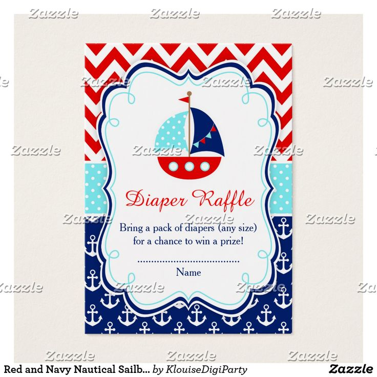 Red and Navy Nautical Sailboat Baby Diaper Raffle Business Card