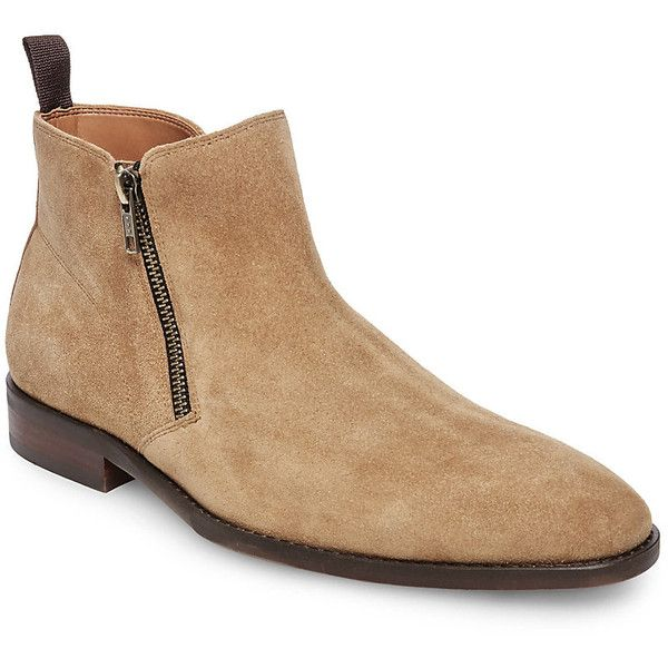 Steve Madden Alonzo Boots ($140) ❤ liked on Polyvore featuring men's fashion, men's shoes, men's boots, tan suede, mens zip shoes, mens zip boots, mens tan boots, mens rubber sole shoes and mens tan shoes