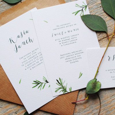 Love Prints Oryginalne Kwiatowe Zaproszenia Ślubne - Pan Rozmaryn